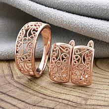 """Набор """"Удивительное мастерство"""", кольцо размер 19, + серьги 14*9мм, позолота РО"""