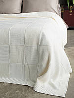 Плед - покрывало вязаное 170x240 BETIRES ASPEN ECRU (50% хлопок, 50% акрил) молочное