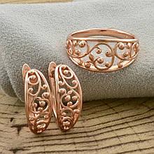 """Набор """"Золотая иллюзия"""", кольцо размер 18, + серьги 17*7мм, позолота РО"""