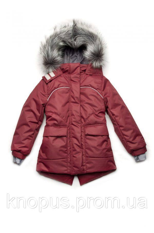 Куртка парка зимняя для девочки на флисе, бордовая, Модный карапуз, размеры 110- 134