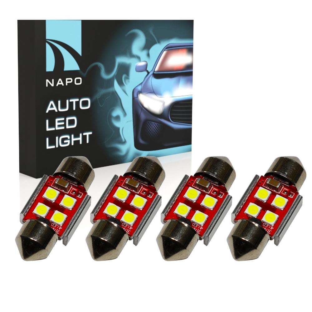 Автолампа диодная SJ-3030-4SMD-CANBUS 31mm, комплект 4 шт, C5W, C10W, цвет свечения белый
