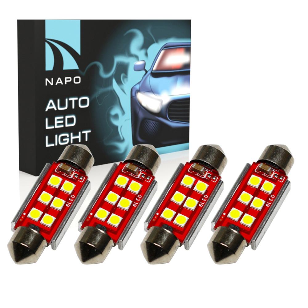 Автолампа диодная SJ-3030-6SMD-CANBUS 36mm, комплект 4 шт, C5W, C10W, цвет свечения белый