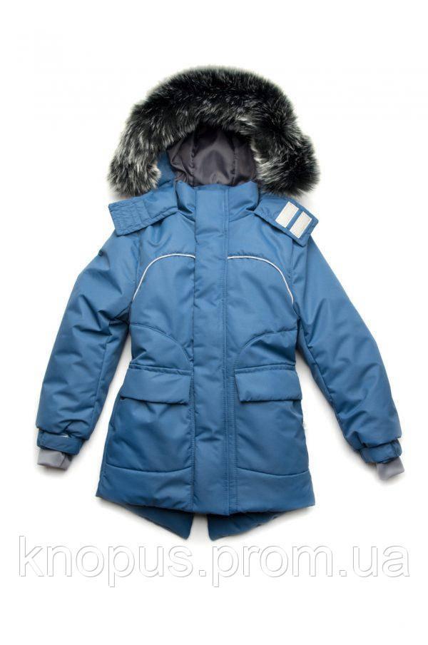 Куртка парка зимняя для мальчики на флисе, светло-синяя, Модный карапуз, размеры 110- 134