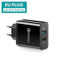 Зарядное устройство на 2 USB, Ugreen Quick Charge 3.0 18W, быстрая зарядка