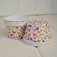 Капсула плотная для капкейков (разноцветные сердечки), 10 шт.