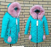 Зимние куртки и пальто для девочек интернет магазин Украина 34-42. Цвет бирюза