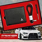 Набір Шкіряних Аксесуарів з емблемою Mitsubishi: Гаманець подвійного складання і Брелок, фото 2