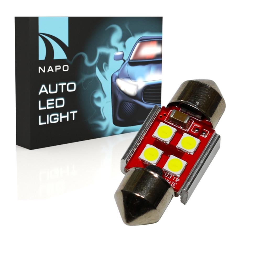 Автолампа диодная SJ-3030-4SMD-CANBUS 31mm, 1 шт, C5W, C10W, цвет свечения белый