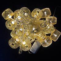 Гирлянда Колесо фортуны сетка, 20 led, золото, прозрачный провод, 2,1м.