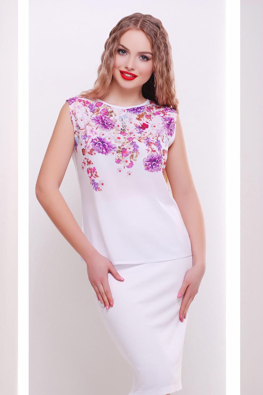 GLEM Хризантемы белый футболка Киви б/р