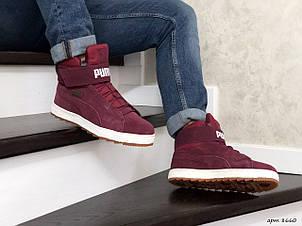 Высокие зимние кроссовки Puma,бордовые,на меху 44р, фото 2