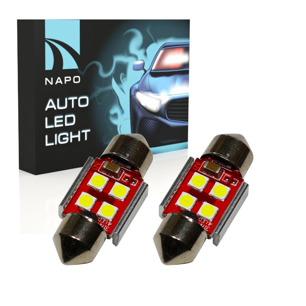 Автолампа диодная SJ-3030-4SMD-CANBUS 31mm, комплект 2 шт, C5W, C10W, цвет свечения белый