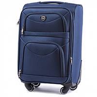 Дорожный чемодан тканевый Wings 6802 средний на 4 колесах синий