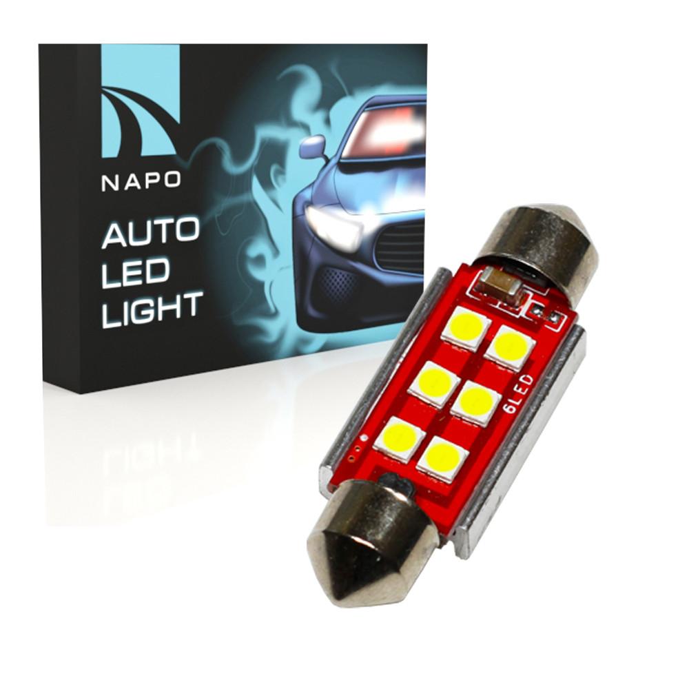 Автолампа диодная SJ-3030-6SMD-CANBUS 41mm, 1 шт, C5W, C10W, цвет свечения белый