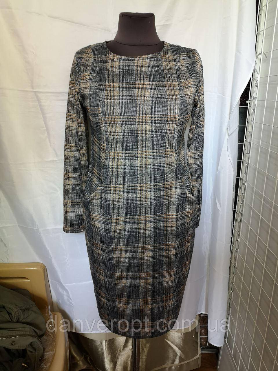 Платье женское модное стильная клетка размер 48-58 купить оптом со склада 7км Одесса