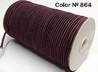 Резинка шляпная 3мм Бордовый круглая 100м
