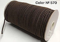 Резинка шляпная 3мм Темно коричневый круглая 100м