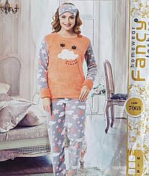 Тёплая женская пижама с повязкой на глаза (микрофлис)