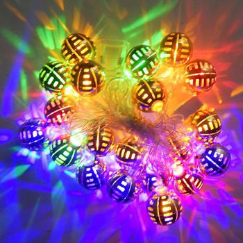 Гирлянда Золотая Сфера, 20 led, размер фигурки: 2.5x2.5, мульти, прозрачный провод, 2,1м.