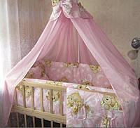 Наборы постельного белья с балдахином (8 предметов). Мишки спят, розовый