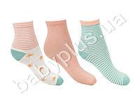 Носочки, размер 16-18, демисезонные с рисунком. Цвет-молочный. Хлопок. (цена за комплект 3 пары)