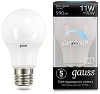 Лампа Gauss LED A60-dim E27 11W 990lm 4100К диммируемая