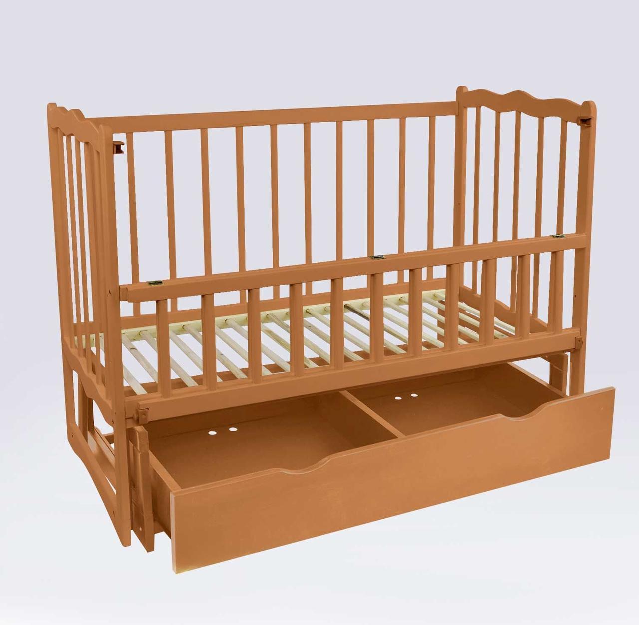 """Кроватка деревян. маятник+шухляда - откидной бортик """"Сон"""" ольха - цвет светло-коричневый"""