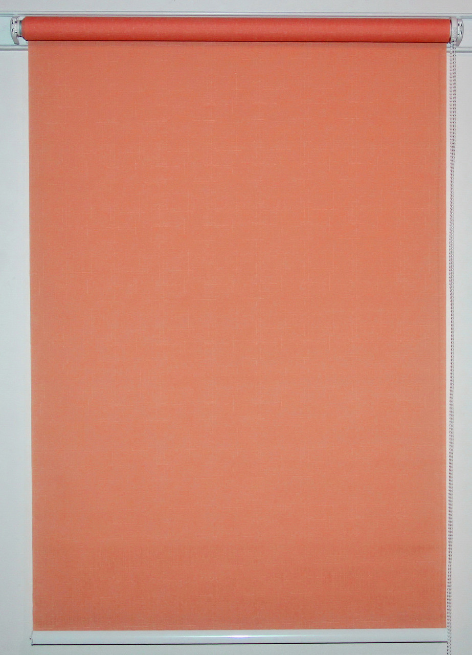 Рулонная штора 625*1500 Лён 860 Красно-оранжевый