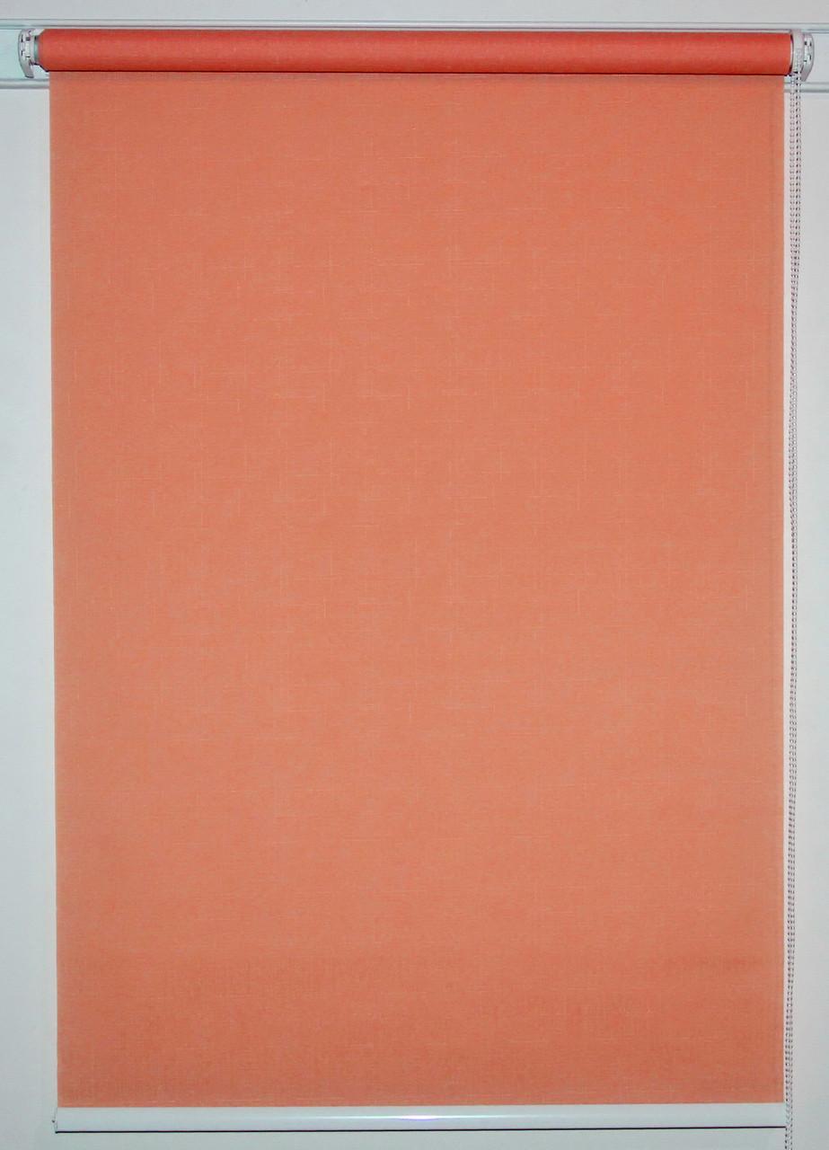 Рулонная штора 750*1500 Лён 860 Красно-оранжевый