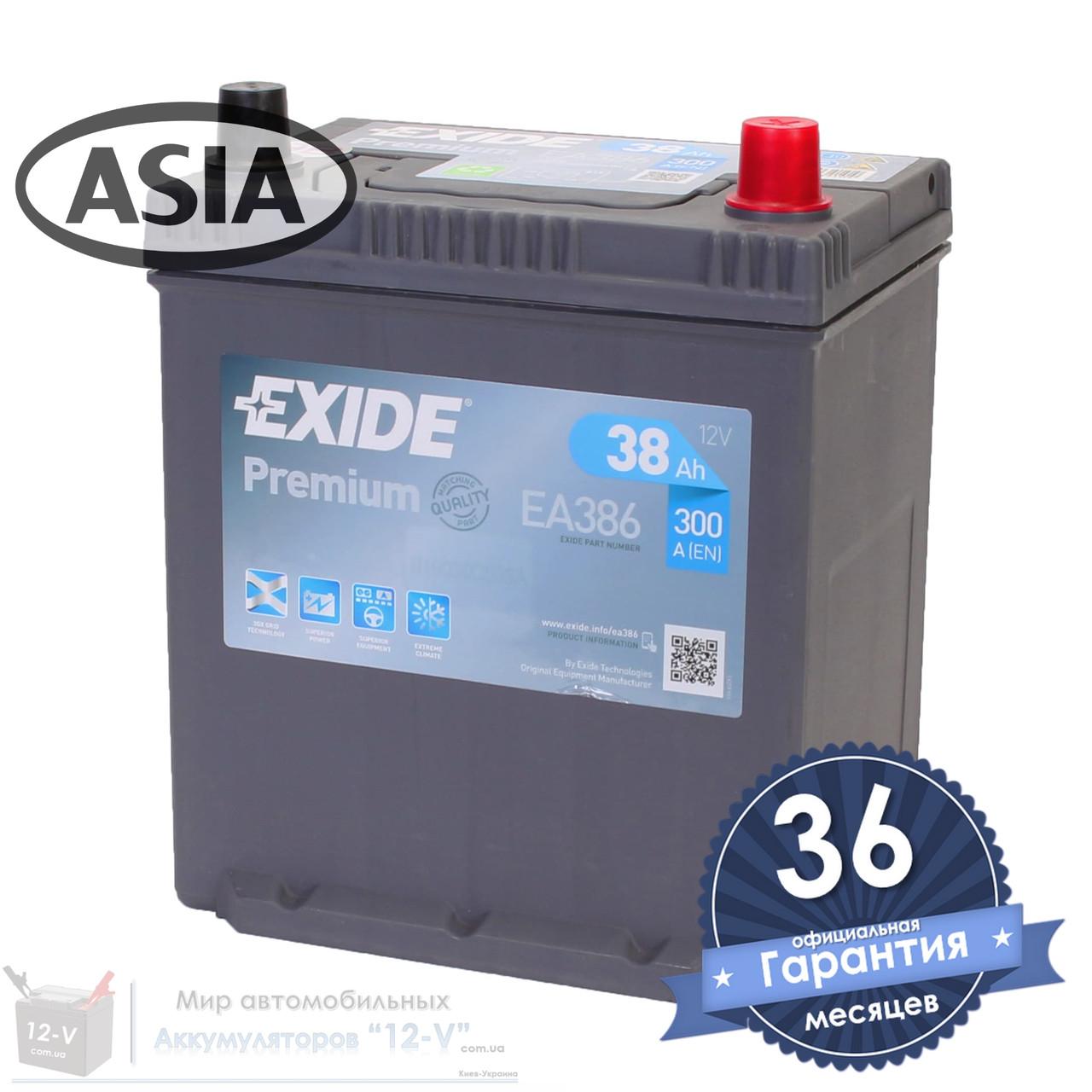 Аккумулятор автомобильный EXIDE Premium 6CT 38Ah ASIA, пусковой ток 300А [–|+] (EA386)