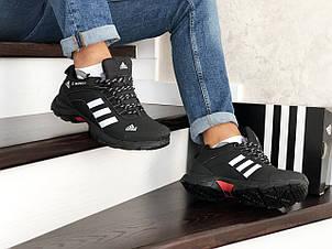 Мужские зимние кроссовки Adidas Climaproof,нубук,черно-белые, фото 2