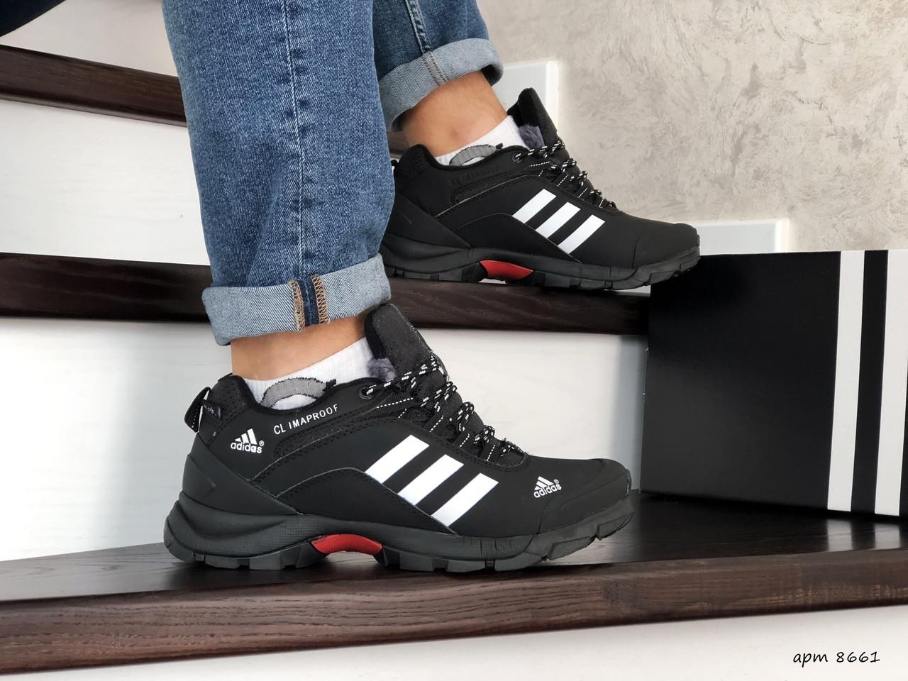 Мужские зимние кроссовки Adidas Climaproof,нубук,черно-белые