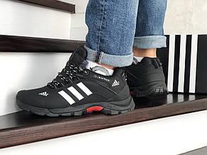 Мужские зимние кроссовки Adidas Climaproof,нубук,черно-белые, фото 3