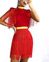 Женское эффектное платье с бахромой, красного цвета