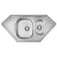 Кухонная мойка стальная асимметричная двойная ULA 7802 Micro Decor ULA7802DEC08  (54613)