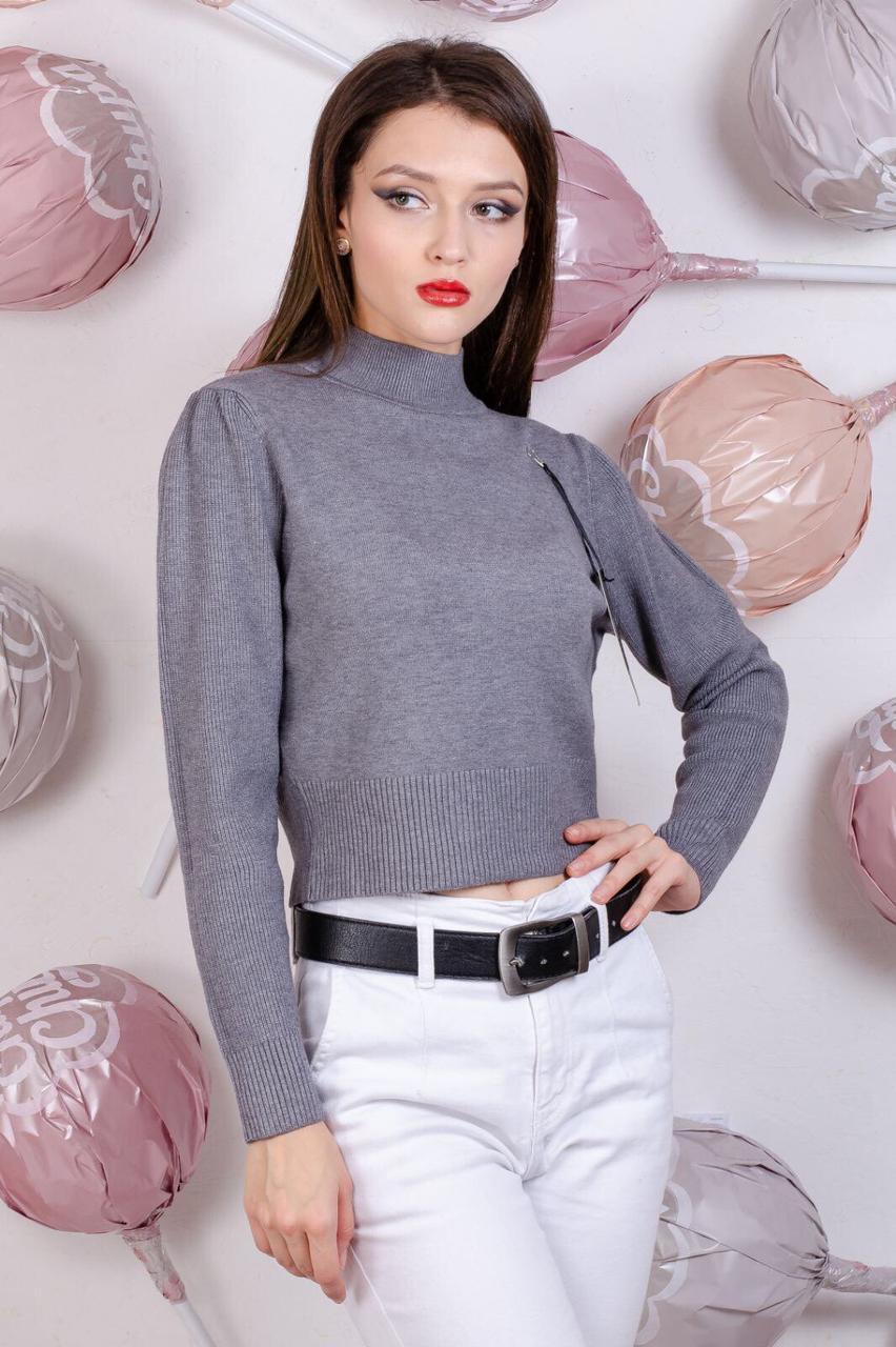 Короткий свитер с объемным рукавом 42-44 (в расцветках)