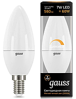 Лампа Gauss LED Свеча-dim E14 7W 560lm 3000К диммируемая