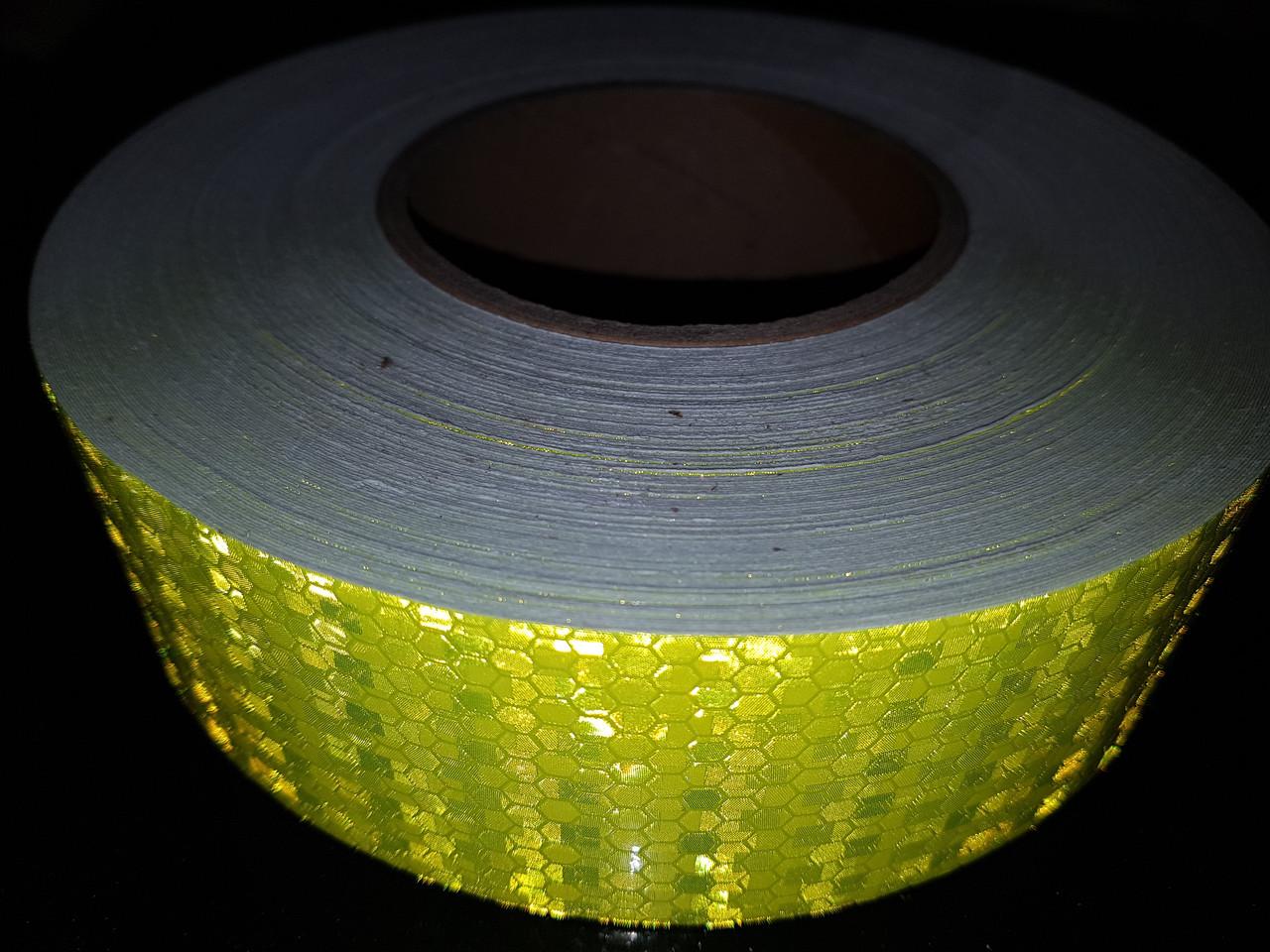 Светоотражающая самоклеящаяся САЛАТОВАЯ лента рулон 50 м, ширина 5 см