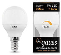 Лампа Gauss LED Шар-dim E14 7W 560lm 3000К диммируемая