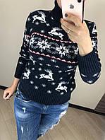 Шерстяной турецкий вязаный свитер под горло с рисунком олени, синий, фото 1