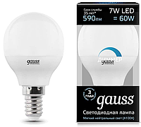 Лампа Gauss LED Шар-dim E14 7W 590lm 4100К диммируемая