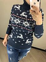 Шерстяной турецкий вязаный свитер под горло с рисунком олени, индиго, фото 1