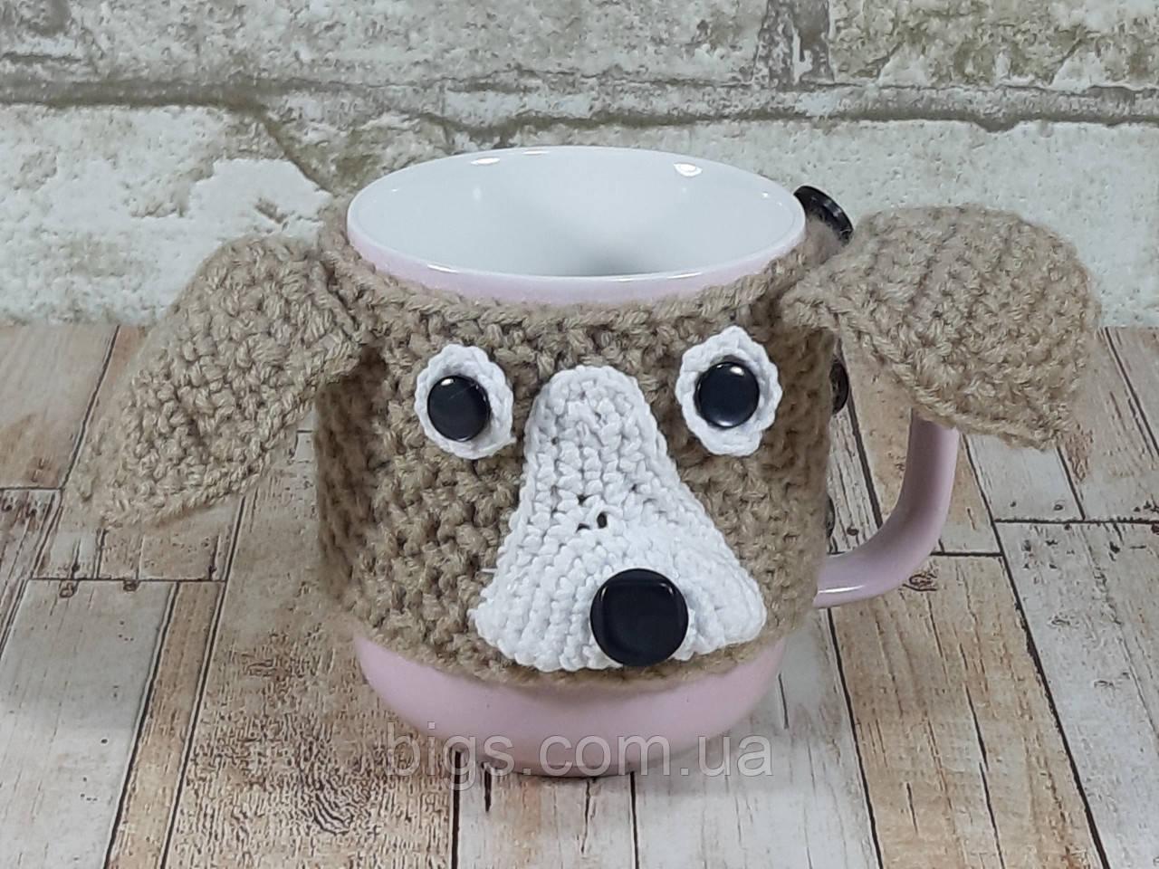Чашка собачка Лайка 350 мл Бежевая