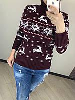 Шерстяной турецкий вязаный свитер под горло с рисунком олени, бордо, фото 1