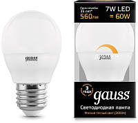 Лампа Gauss LED Шар-dim E27 7W 560lm 3000К диммируемая