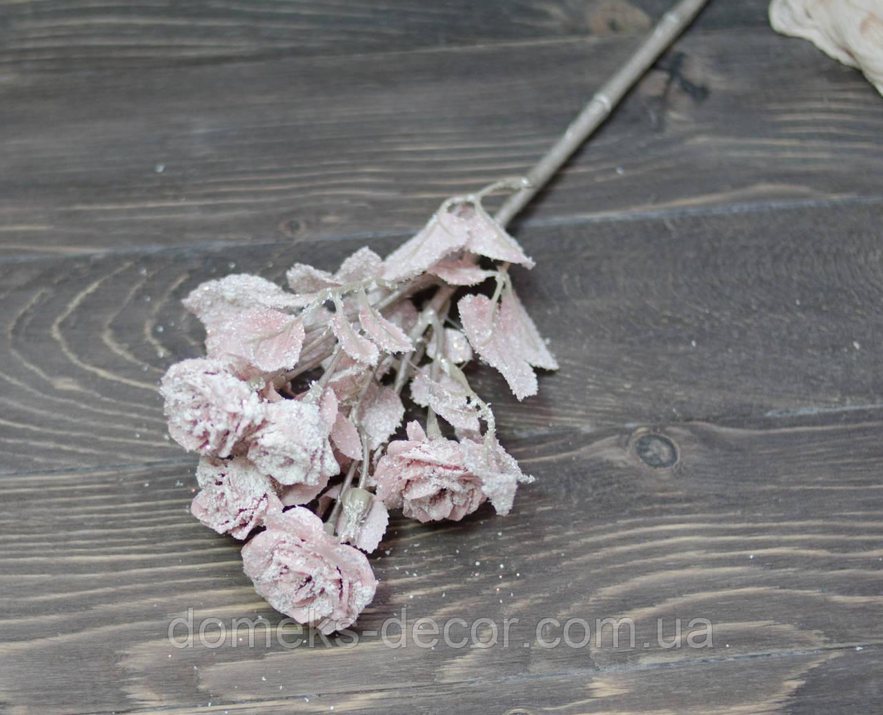 Ветка мелких роз в снегу. нежно розовая, фото 1