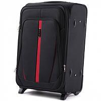 Дорожный чемодан тканевый Wings 1706 средний 2 колеса черный