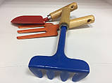 Набор цветных садовых инструментов с деревянными ручками (3 предмета), фото 6