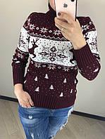 Вовняний турецький в'язаний светр під горло з малюнком ялинки, бордо, фото 1