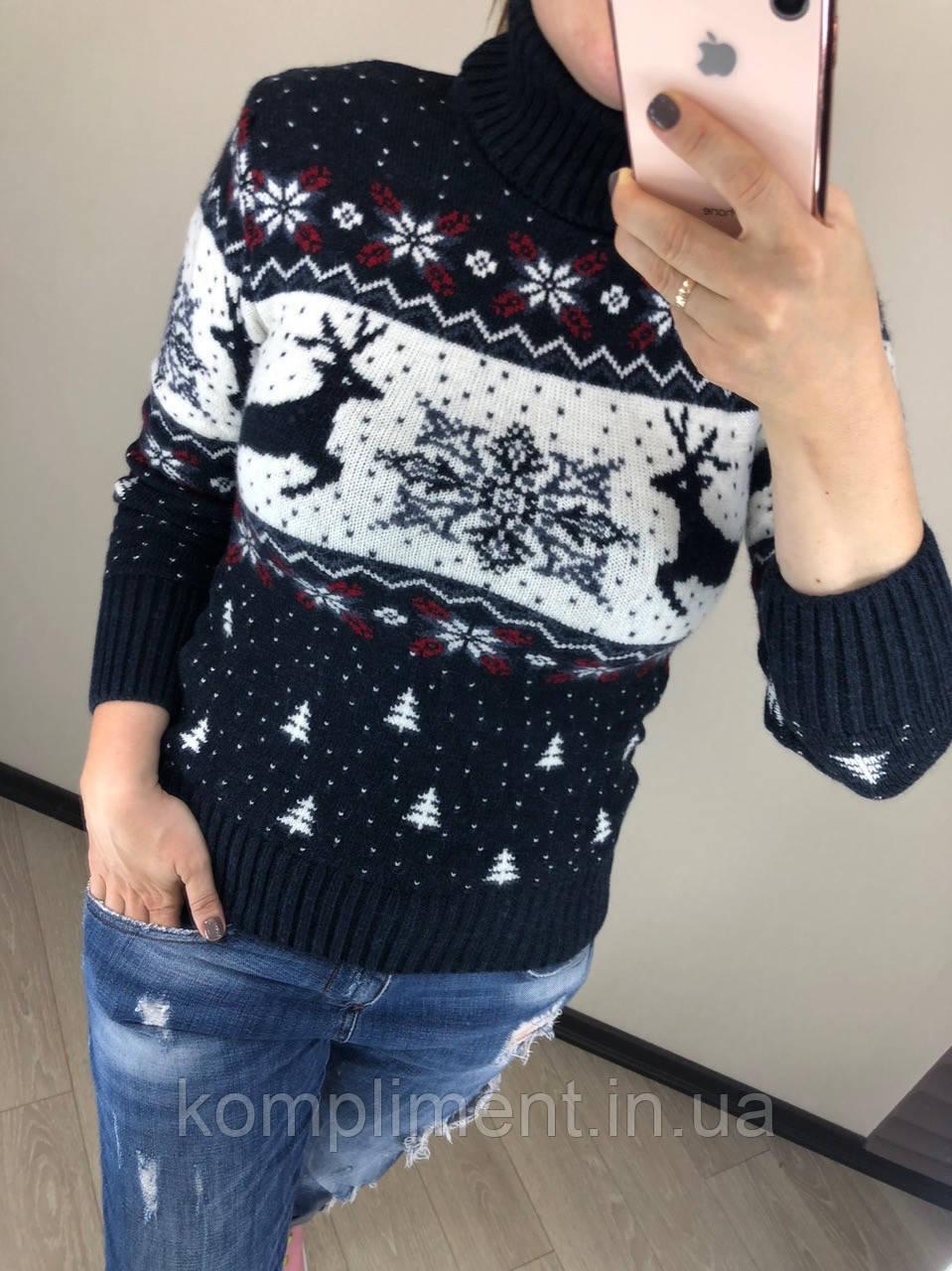 Шерстяной турецкий вязаный свитер под горло с рисунком елочки, синий